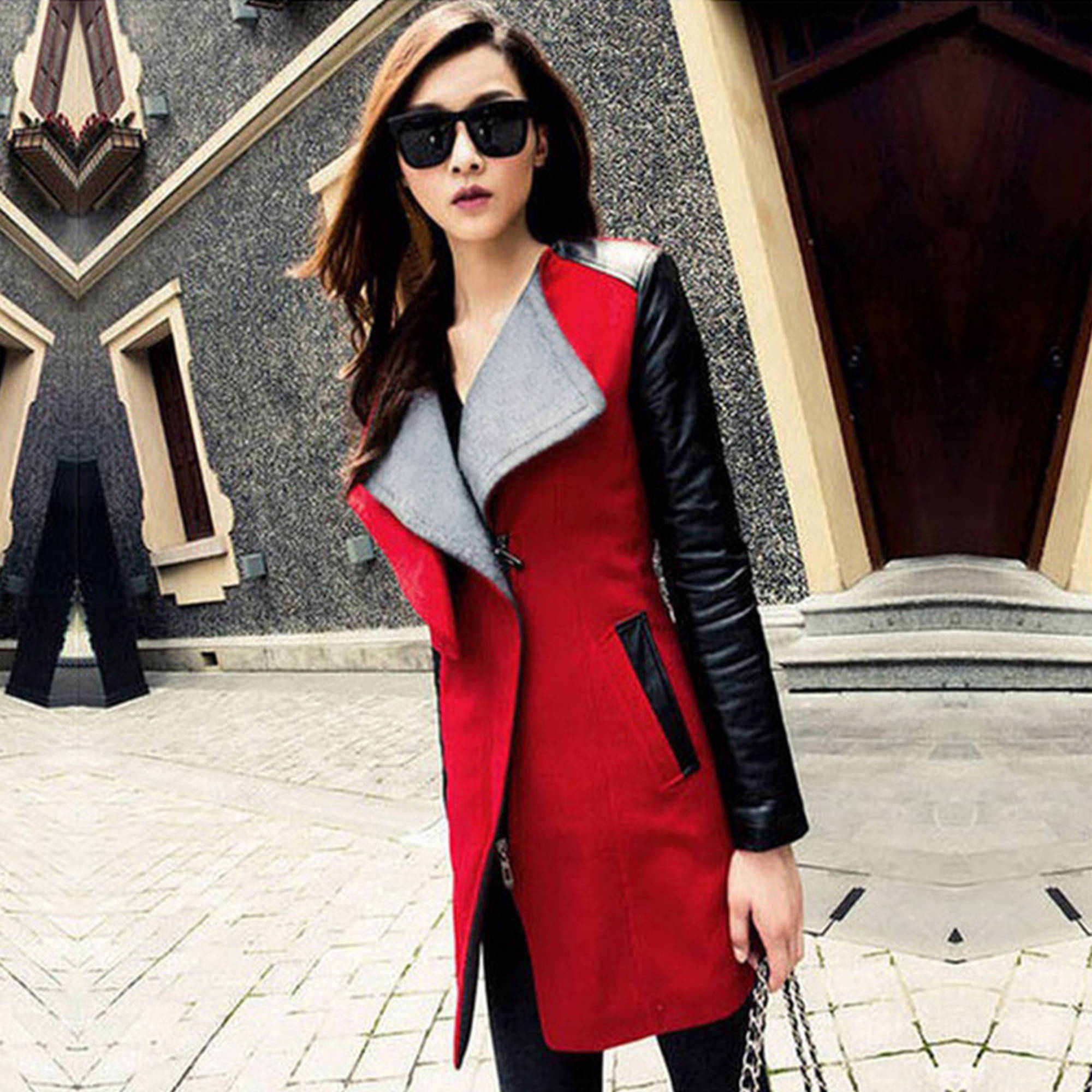 Women Basic Parka Trench Coat Big Lapel Collar Long Leather Sleeve Outwear by