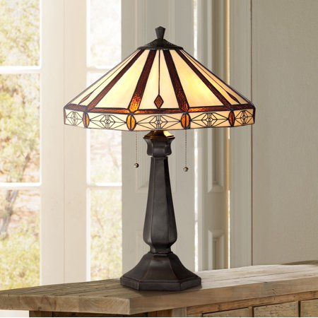 - Robert Louis Tiffany Mission Table Lamp Bronze Octagonal Art Glass Shade for Living Room Family Bedroom Bedside Nightstand Office
