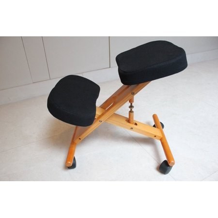 Cherry Game Chair - Kneeling Chair with Memory Foam Cherry Wooden Frame Black Fabric