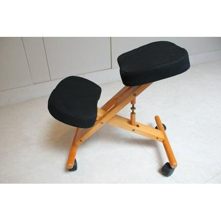Kneeling Chair with Memory Foam Cherry Wooden Frame Black