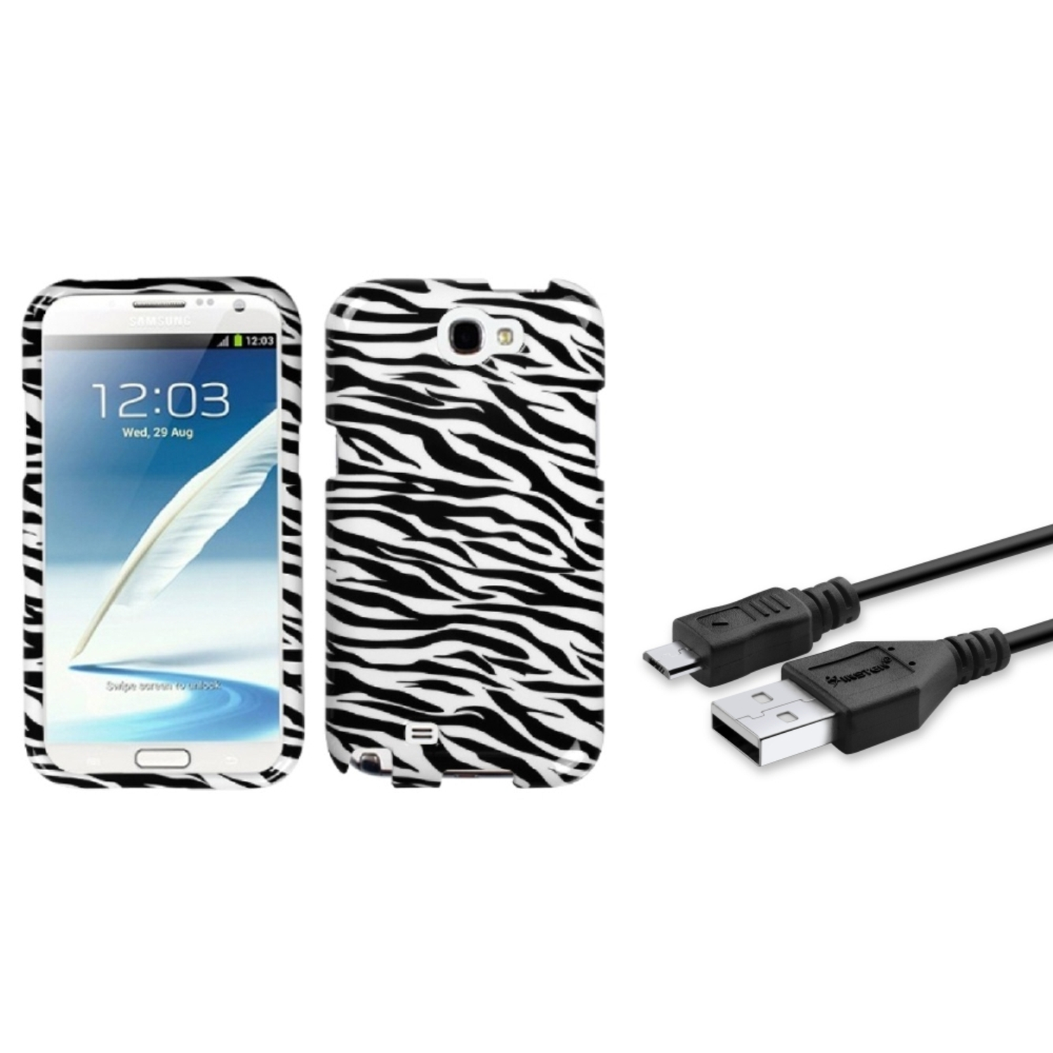 Insten Black Zebra Hard Case 3FT USB Cord Cable For Samsung Galaxy Note 2 II
