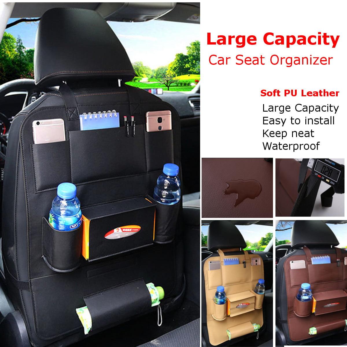 Auto Car Vehicle Seat Back Organizer Muiti-pocket Waterproof Soft Leather Storage Bag Box Case (Color: Beige/Brown/Black)
