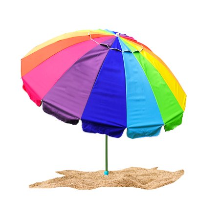 Rainbow Beach Umbrella - Party With Pride Giant 8' Rainbow Beach Umbrella / With UV Protection / Includes Durable Carry Bag / For Sun and Outdoor / Windproof (Rainbow)