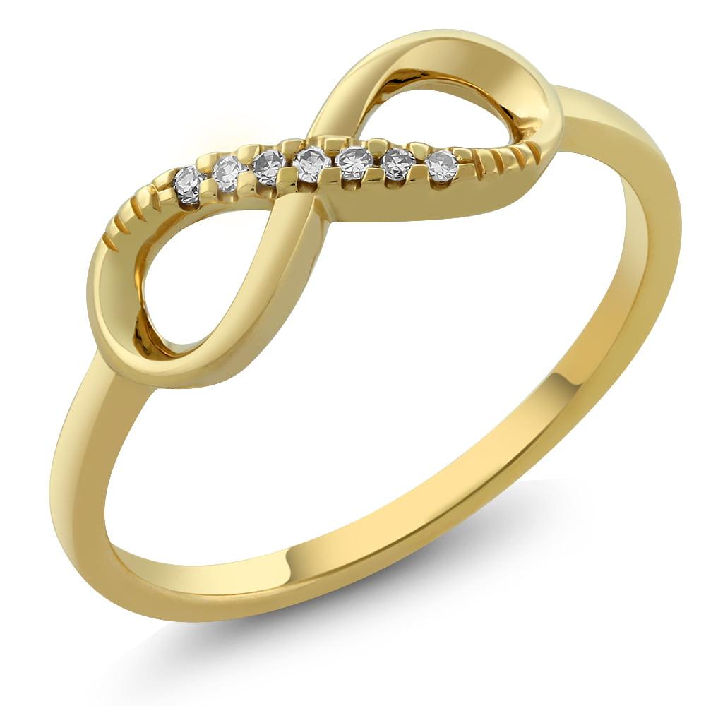 10K Solid Yellow Gold Diamond Infinity Ring Walmart