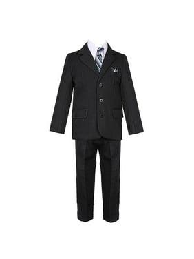 Boys Navy Blue 5 Piece Vest Jacket Pants Special Occasion Suit
