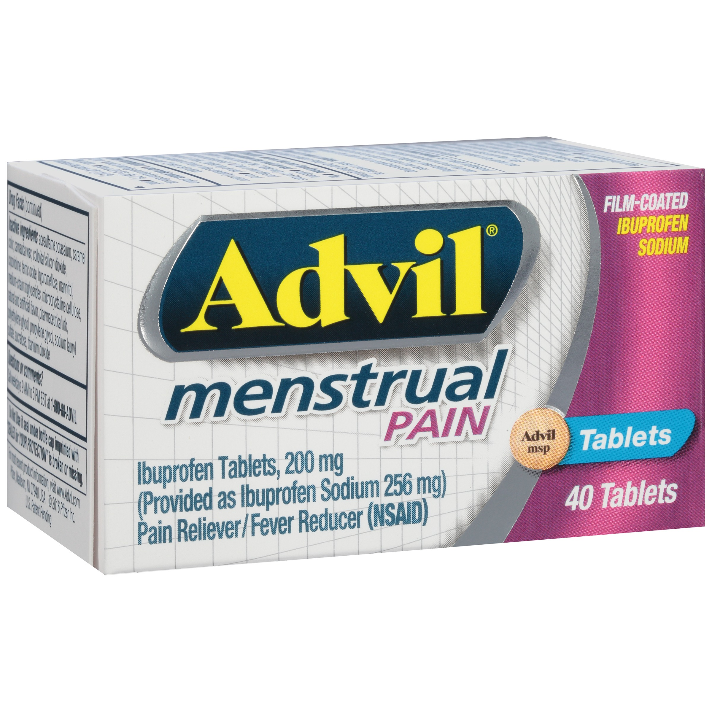 Advil Menstrual (40 Count) Pain Reliever / Fever Reducer Tablet, 200mg Ibuprofen Sodium, Menstrual Cramps, Temporary Pain Relief