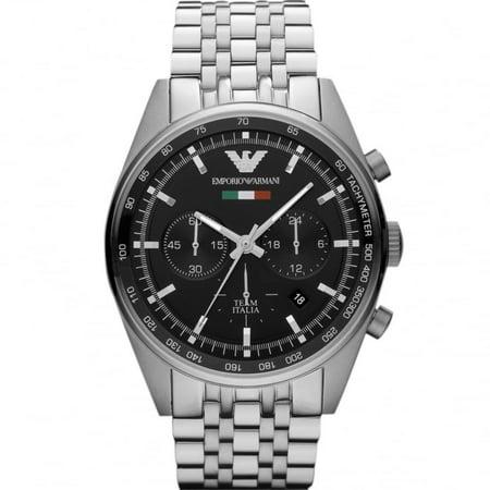Emporio Armani Men's 43mm Steel Bracelet & Case Quartz Black Dial Analog Watch AR5983