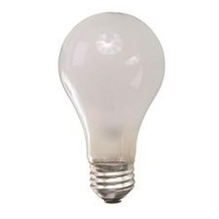 Sylvania Incandescent Rough Service Lamp A19, 100 Watt, 130 Volts, Medium Base, Inside Frost, 24 Per Case