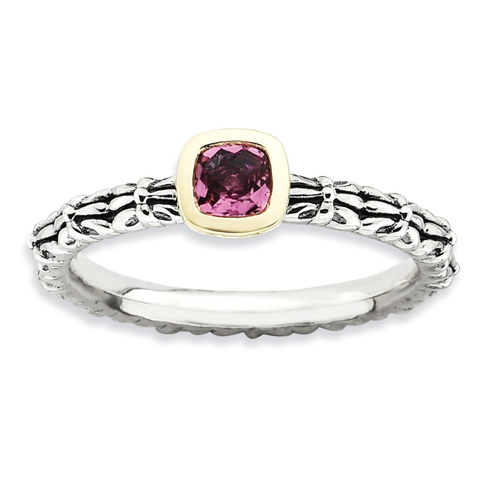 925 Sterling Silver 14k Stackable Expressions Checker-cut P. Tourmaline Ring by IceCarats