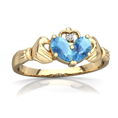 Blue Topaz Claddagh Ring in 14K Yellow Gold by