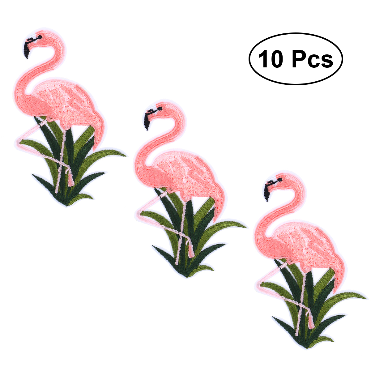 10PCS Flamingo Patch Embroidered Sew Iron On Bag Fabric Applique DIY Craft ^F