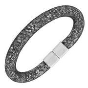 EDFORCE Black Stainless Steel CZ Mesh Bracelet