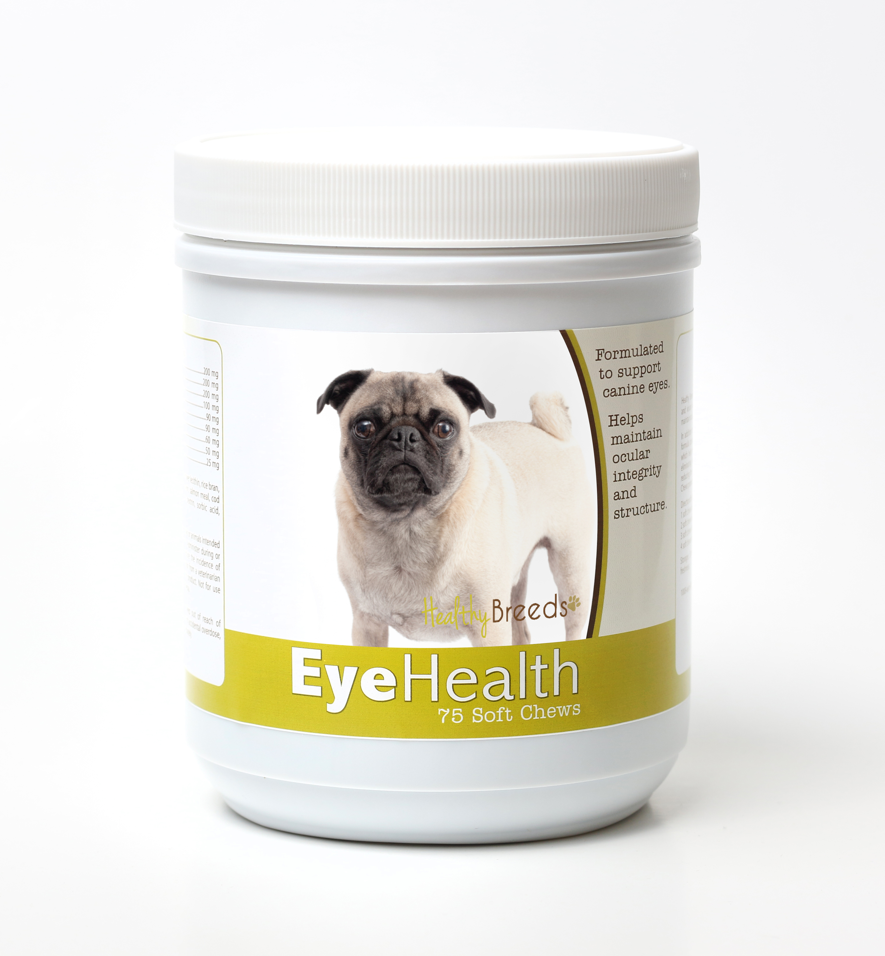 Healthy Breeds Dog Eye Health Support Soft Chews for Pug 75 Count
