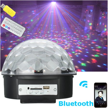 6 Colors Wireless Bluetooth LED Stage Lights DJ Disco Ball Party Lights Rotating Crystal Magic Light Projector Sound Activated for KTV Xmas Wedding Club Karaoke Lighting