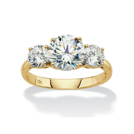 Round Cubic Zirconia 3-Stone Engagement Ring 3 TCW in Solid 10k Yellow Gold (Padded 3 Ring)