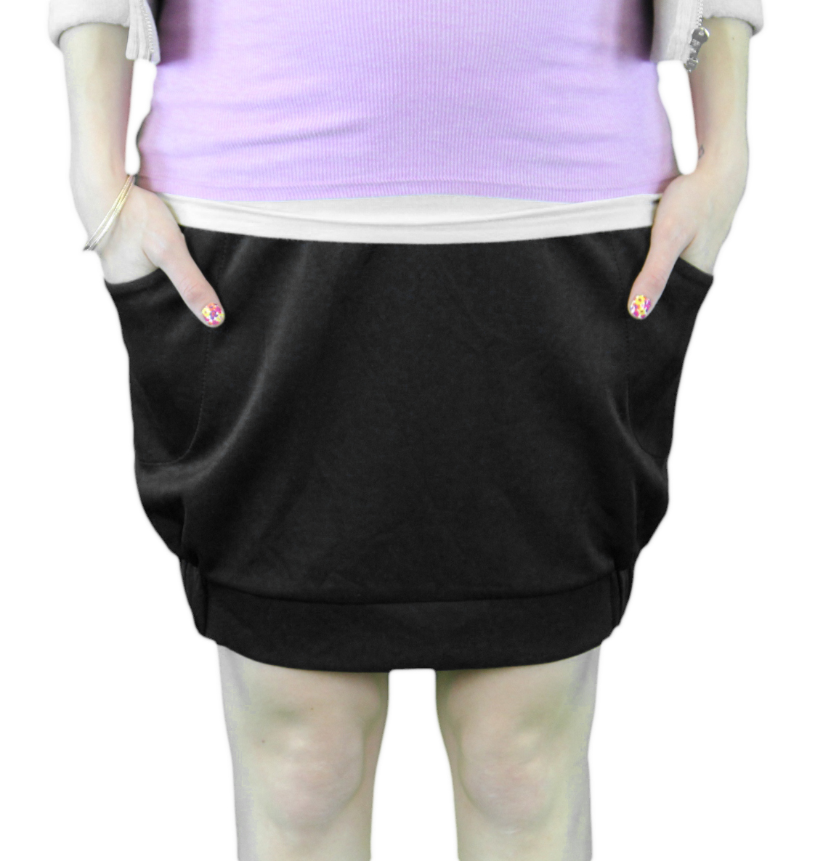 9 FASHION Maternity Osea Black Wide Pleated Satin Finish Skirt Sz S