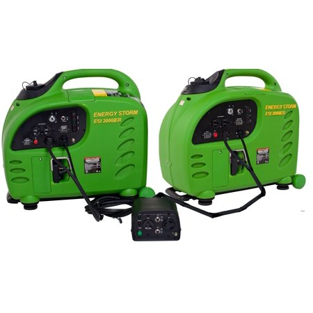 Double Power With Package Of 2   Esi2000ier Energy Storm Remote Start Stop Gasoline Powered Inverter Generators With Parallel Connection System Included 50 State And Canada Sales Compliant