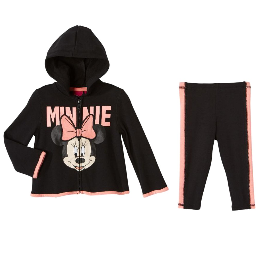 Disney Infant Girls Minnie Mouse Baby Outfit Black & Pink Hoodie & Sweat Pants