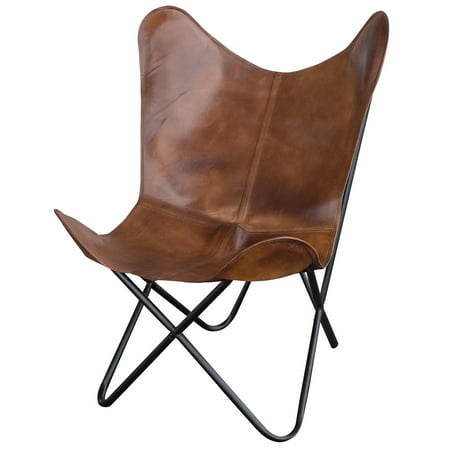 Amerihome Leather Butterfly Chair in Natural -