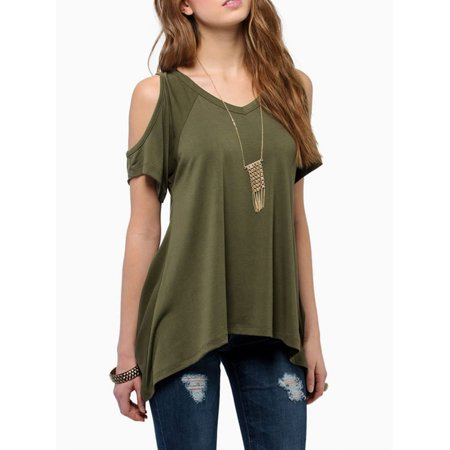 Summer Weight (A Blues Man Cold Shoulder Cotton Summer T-Shirts for Women, Vogue Shoulder Off Wide Hem Summer Blouses for Women, Green Lightweight T-Shirts Summer Tops for Women,(S2873AGM, Asian)