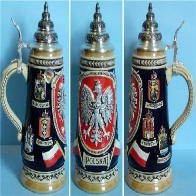 King Werks Polska Poland German Beer Stein 0.5 Liter