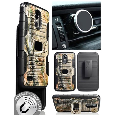 LG Stylo 3 Camo Case/Mount/Clip, Nakedcellphone [Camouflage] Tree Leaf Real  Woods Ring Grip Cover + Belt Clip Holster Stand + Magnetic Car Mount for