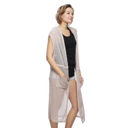 Womens Fishnet Style Sequin Accented Tunic Vest Outerwear Coverup Top for Spring - Sequin Vest Womens