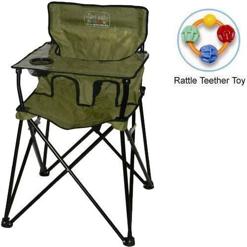 ciao baby Portable High Chair with Rattle Teether Toy Sage by