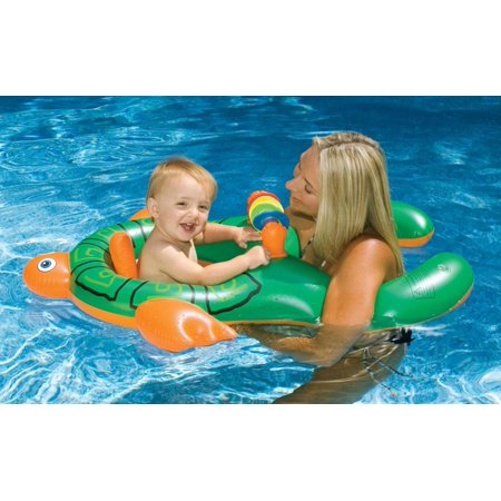 Inflatable Green and Orange Turtle Me and You Baby Swimming Pool Seat - Inflatable Turtle