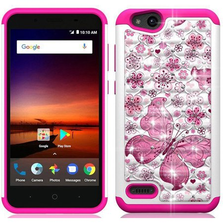 Phone Case for ZTE Avid-4 ( MetroPCS ) / Verizon ZTE Blade Vantage / Boost  Mobile ZTE Tempo X Crystal-Dual-Layered Rugged Cover (Crystal