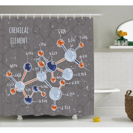 Grunge Shower Curtain Chemistry Laboratory With Display Formula Science Graphic Design Fabric Bathroom Set