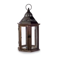 Decorative Wood Lantern with Iron Top: Black/Brown - 9.26 x 8.08 inches