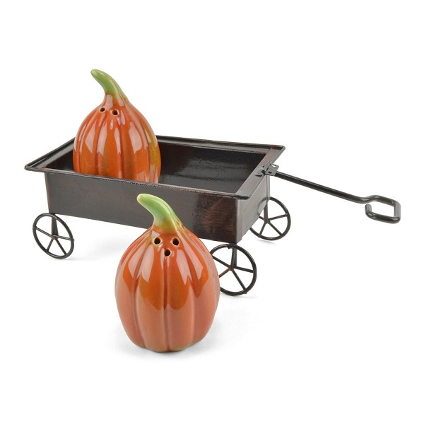 Pumpkins on Wagon Salt and Pepper Shakers, 3 Pc.