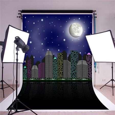 HelloDecor Polyster 5x7ft Super City Photography Backdrops Moon Backdrop for Superhero Photo Studio - Superhero Photo Effects