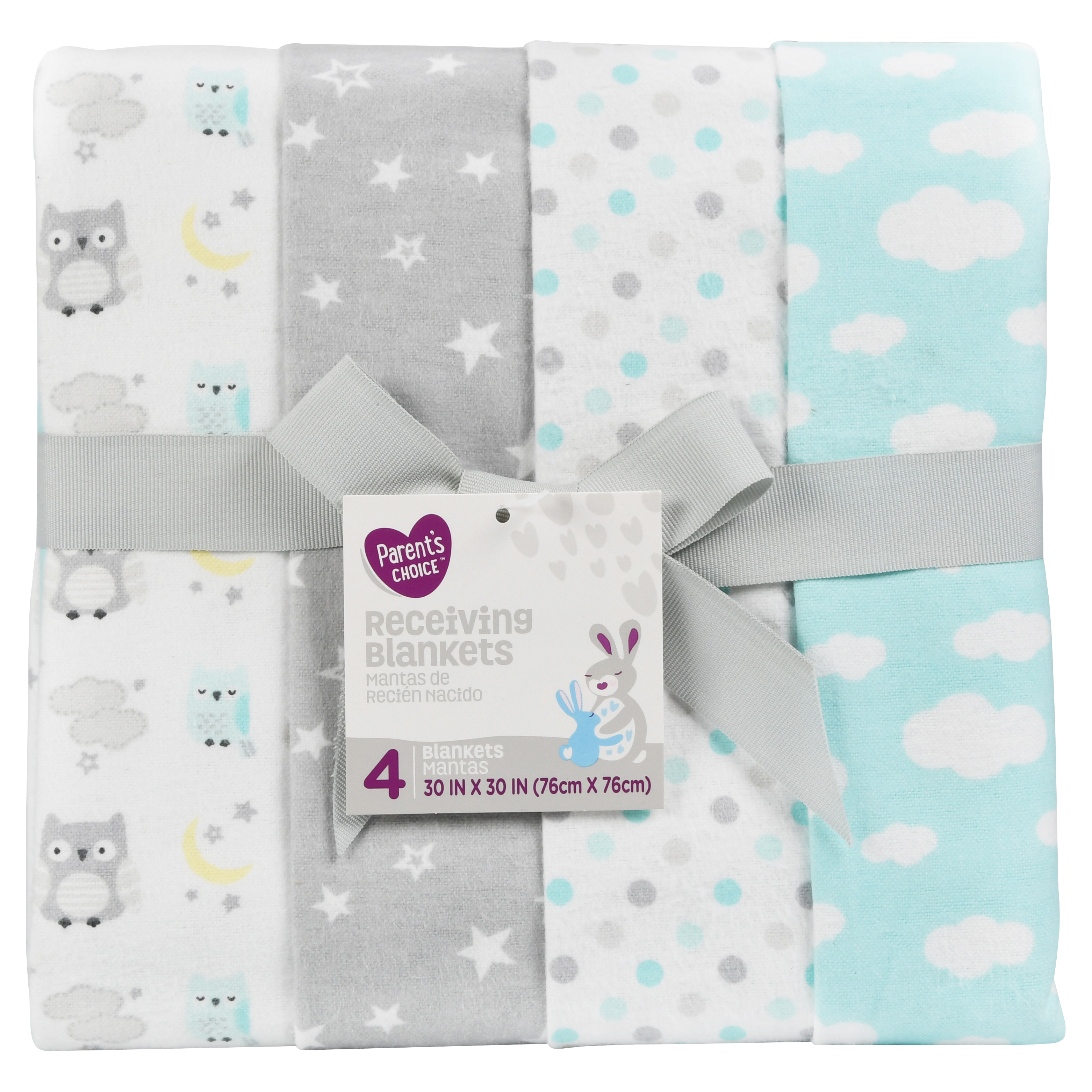 Parent's Choice Receiving Blankets, Various Prints, 4 Pack
