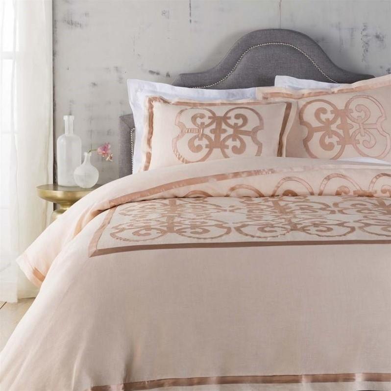 Surya Versaille Woven Linen Full Queen Duvet Set in Pink