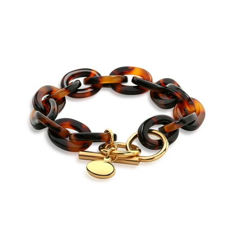 Fashion Brown Golden Acrylic Tortoise Shell Oval Chain Link Bracelet For Women Gold Plated Stainless Steel ()
