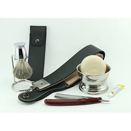 Shaving Set   Gold Dollar Faux Rosewood Handle  Gbs Chrome Bowl  Badger Brush  Brush Stand  Ocean Driftwood Shaving Soap  Leather Case  20    Gbs