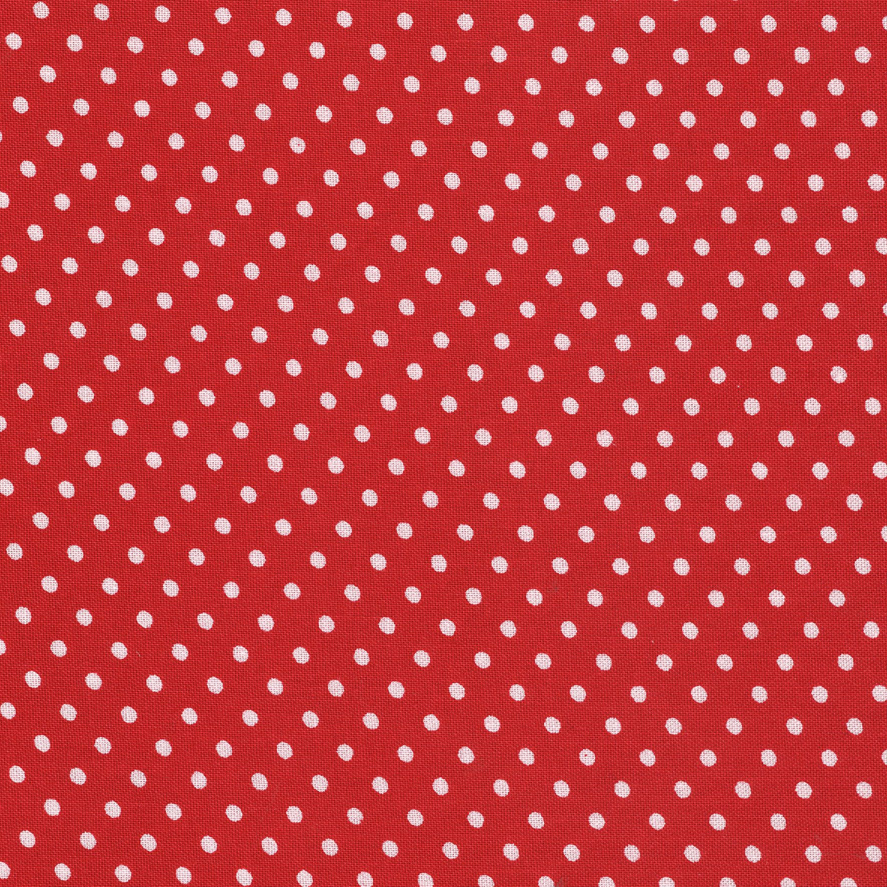 SHASON TEXTILE (3 Yards cut) 100% COTTON PRINT QUILTING FABRIC, RED / WHITE MED DOTS