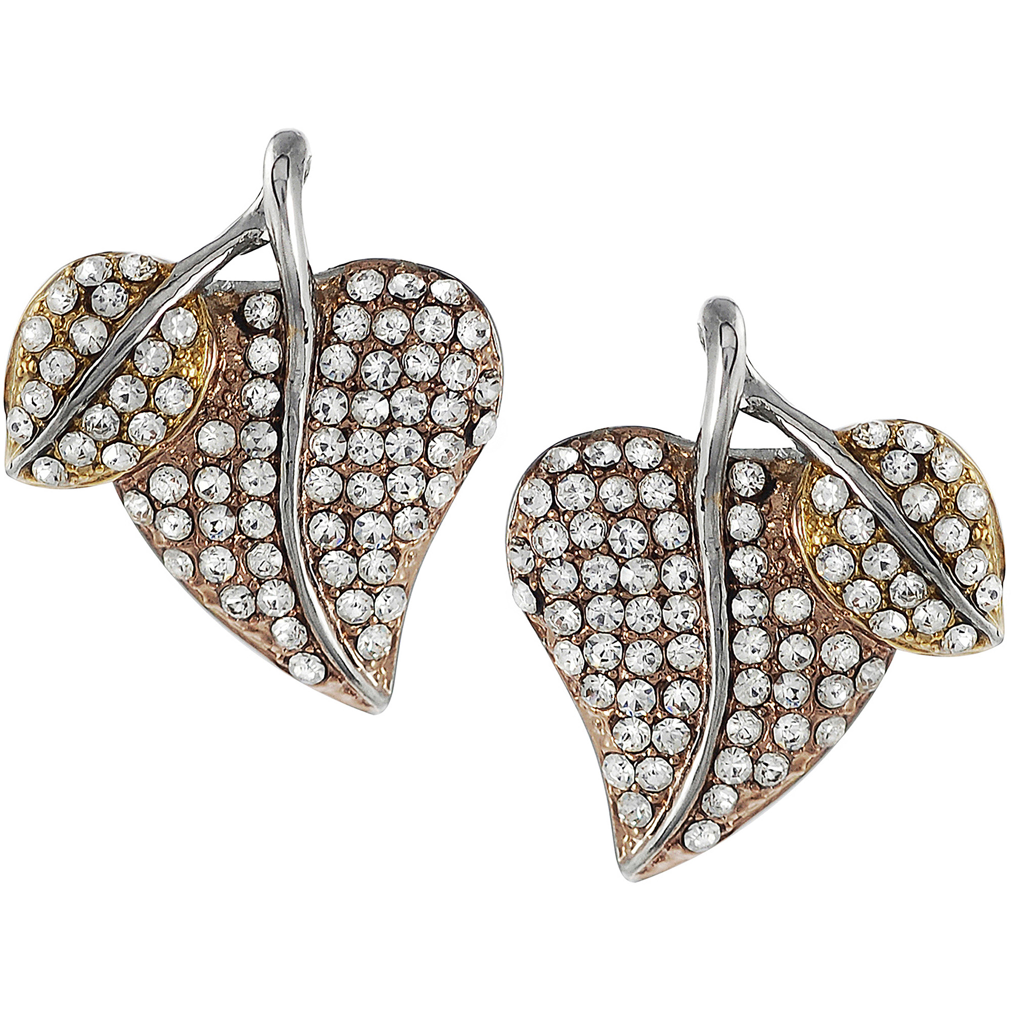 Brinley Co. Women's Stainless Steel Copper Cubic Zirconia Mod Spiral Earrings