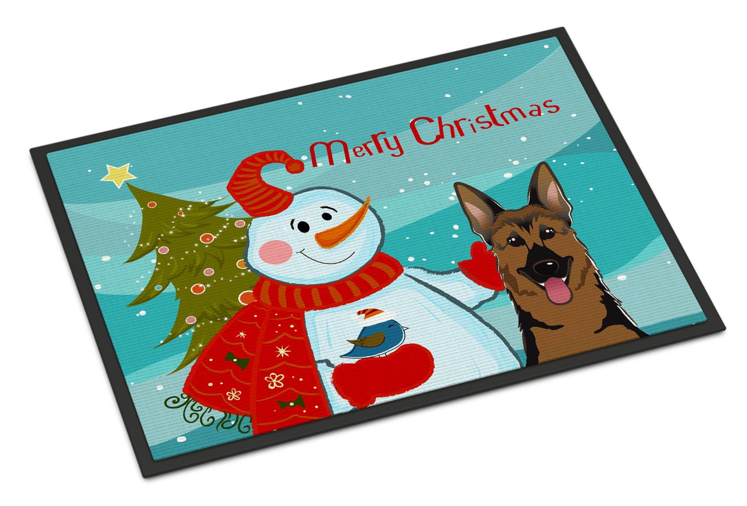 Snowman with German Shepherd Doormat by Caroline's Treasures