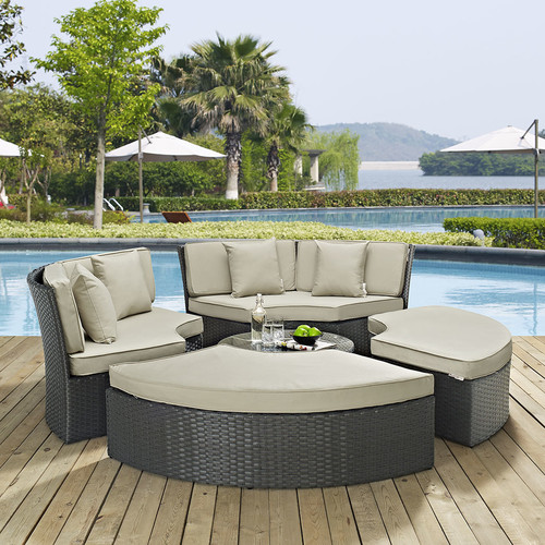Modway Sojourn 5 Piece Outdoor Patio Sunbrella Daybed, Multiple Colors