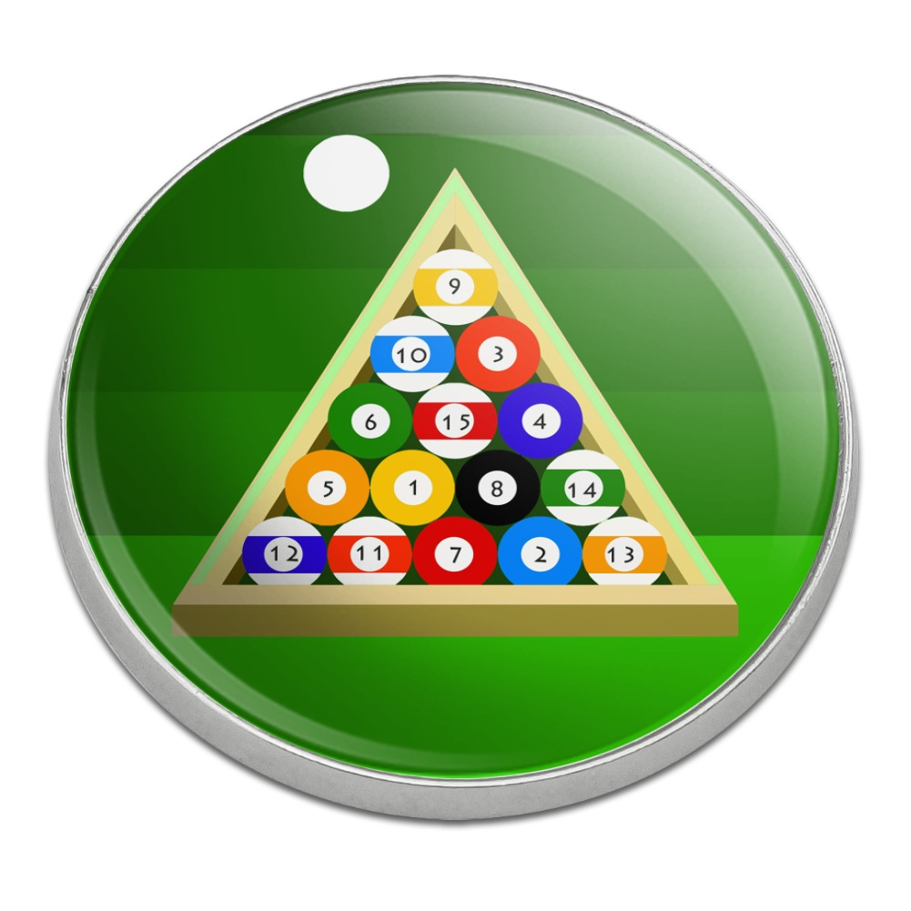 Billiard Balls And Triangle Pool Table Golfing Premium Metal Golf Ball  Marker   Walmart.com