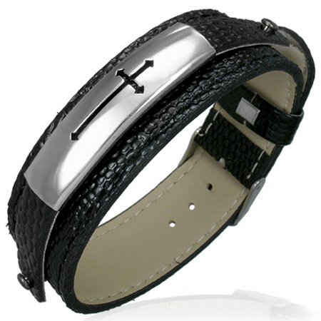 - Black Leather Stainless Steel Belt Buckle Religious Cross Mens Bracelet