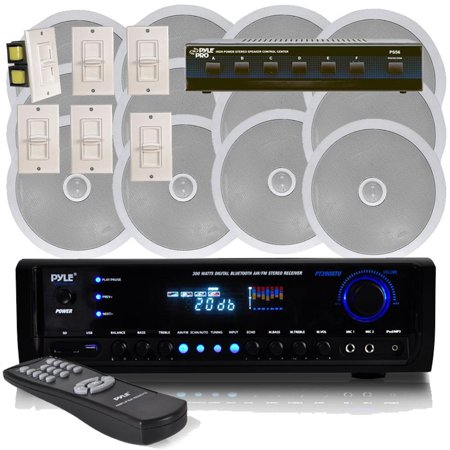 Pyle - 6 Channel In-Ceiling Speaker System With Digital Home Theater Bluetooth Stereo Receiver, Aux (3.5mm)Input MP3/USB & Wall Mount Volume Control