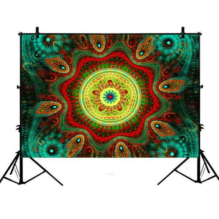 PHFZK 7x5ft Hippie Mandala Bohemian Floral Indian Fantasy Peacock Photography Backdrops Polyester Photo Background Studio Props (Hippie Photo)