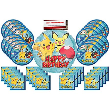 Pokemon Pikachu Party Supplies Bundle Pack for 16 (17 inch Balloon Plus Party Planning Checklist by Mikes Super Store)