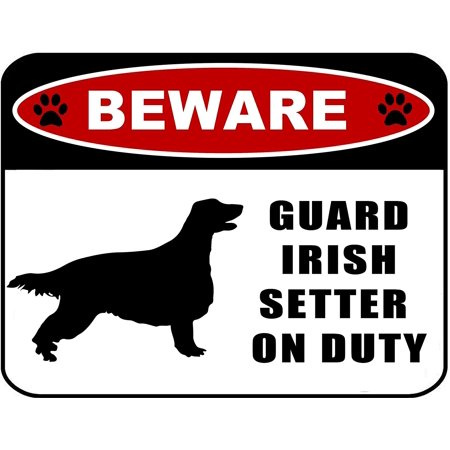 Setter Silhouette (Beware Guard Irish Setter (silhouette) on Duty 11.5 inch x 9 inch Laminated Dog Sign)