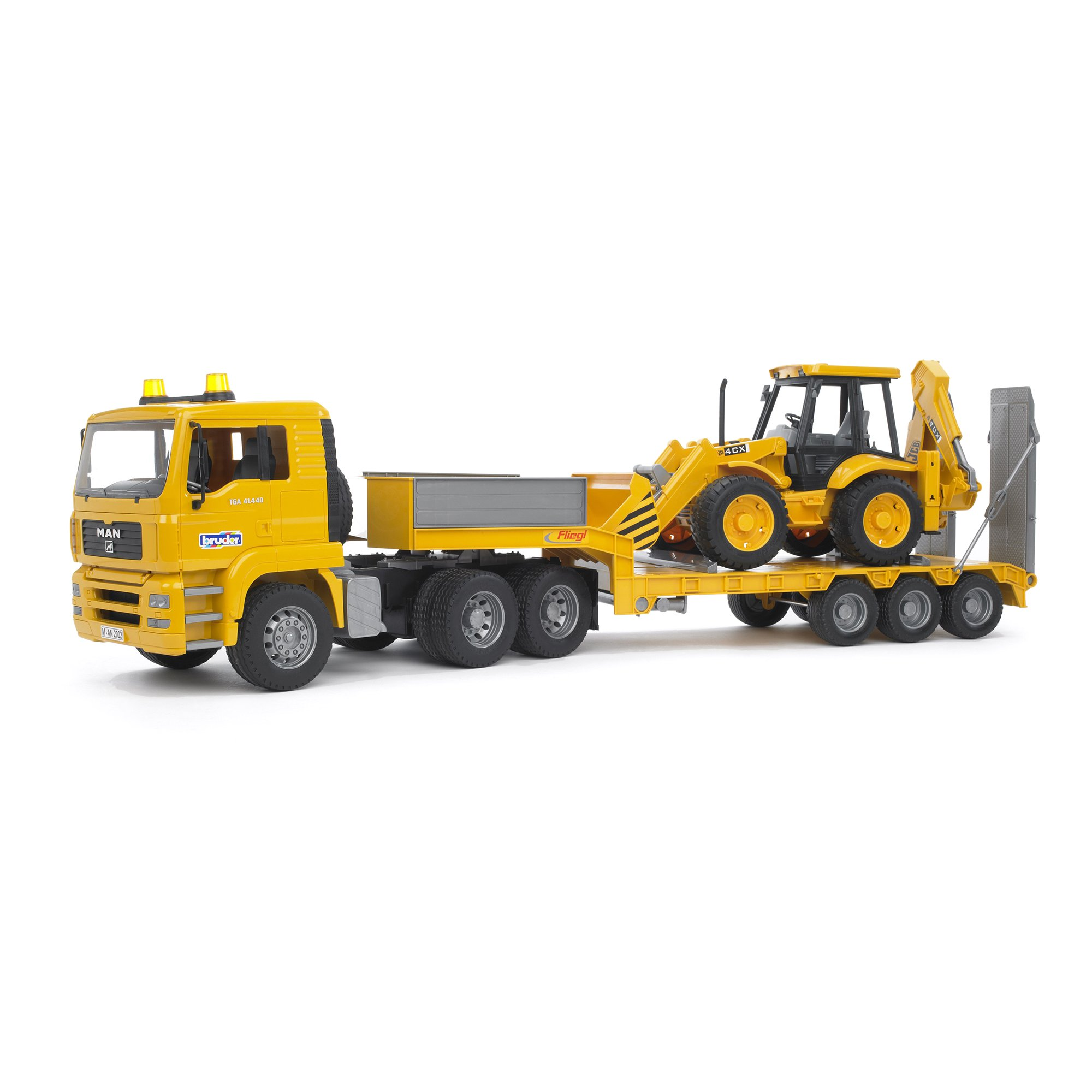 Bruder Toys MAN TGA Low Loader Truck with JCB Backhoe Loader on Trailer | 02776