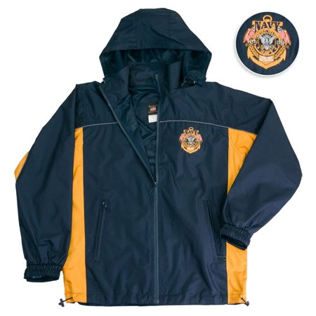 Us Navy Jacket Hooded Light Weight Rain Resistant Windbreaker Jacket Reflective Safety Piping And Removable Hood Mesh Nylon Liner Embroidered Logo Draw Sting Waist Small Black Gold